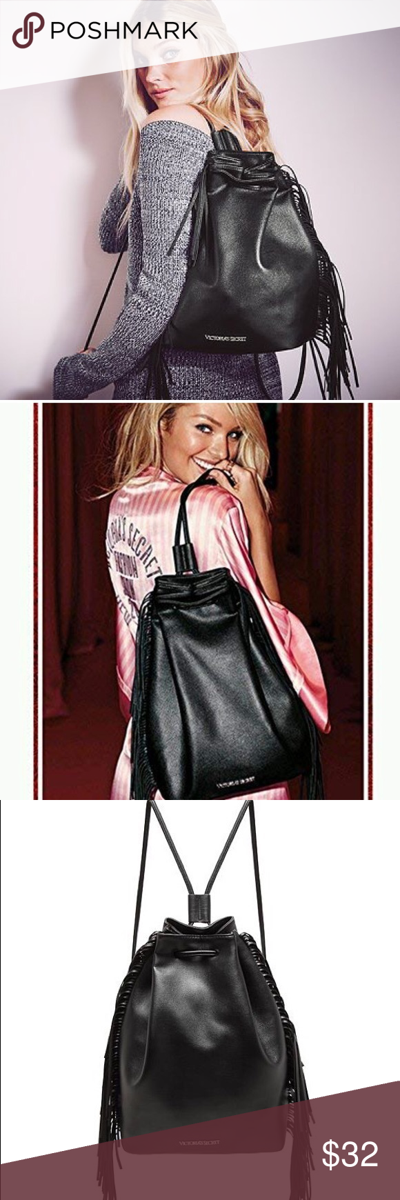 Victorias Secret Black fringe bag