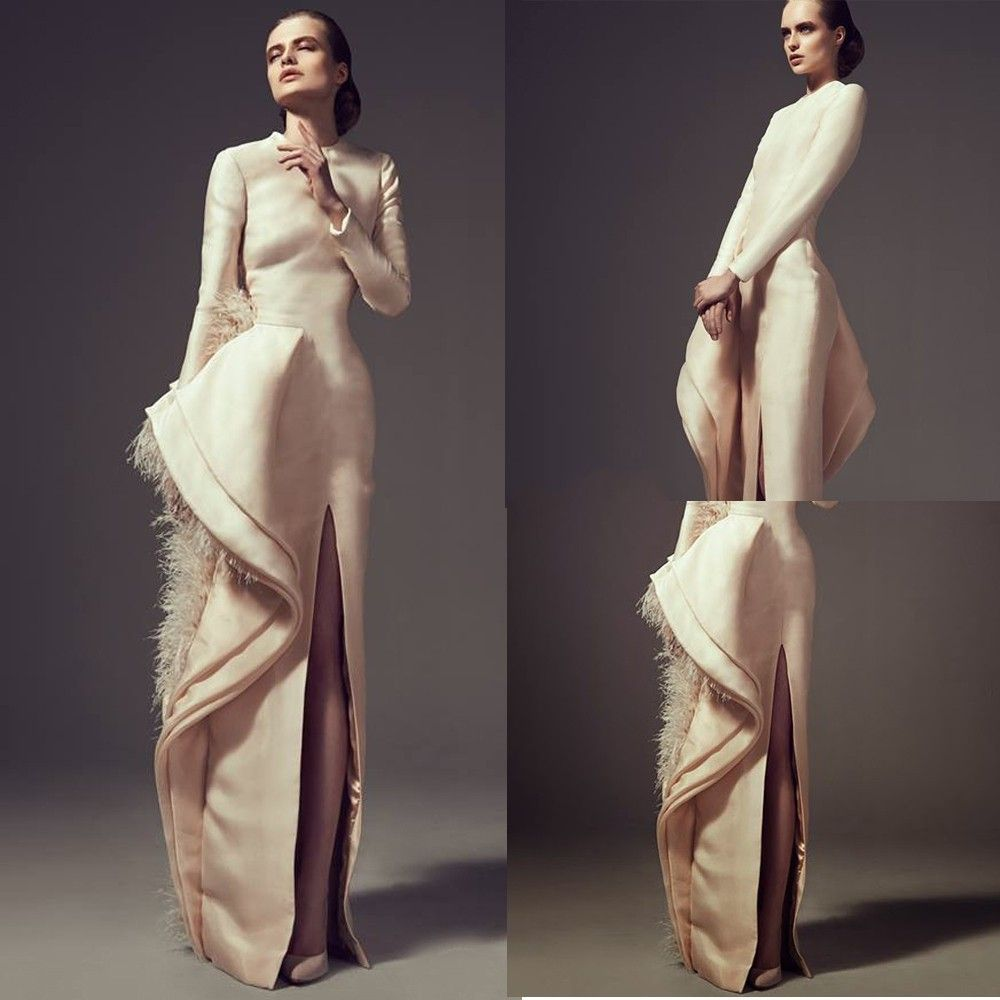 Elegant jewel long sleeve with featherside slitbow champagne satin