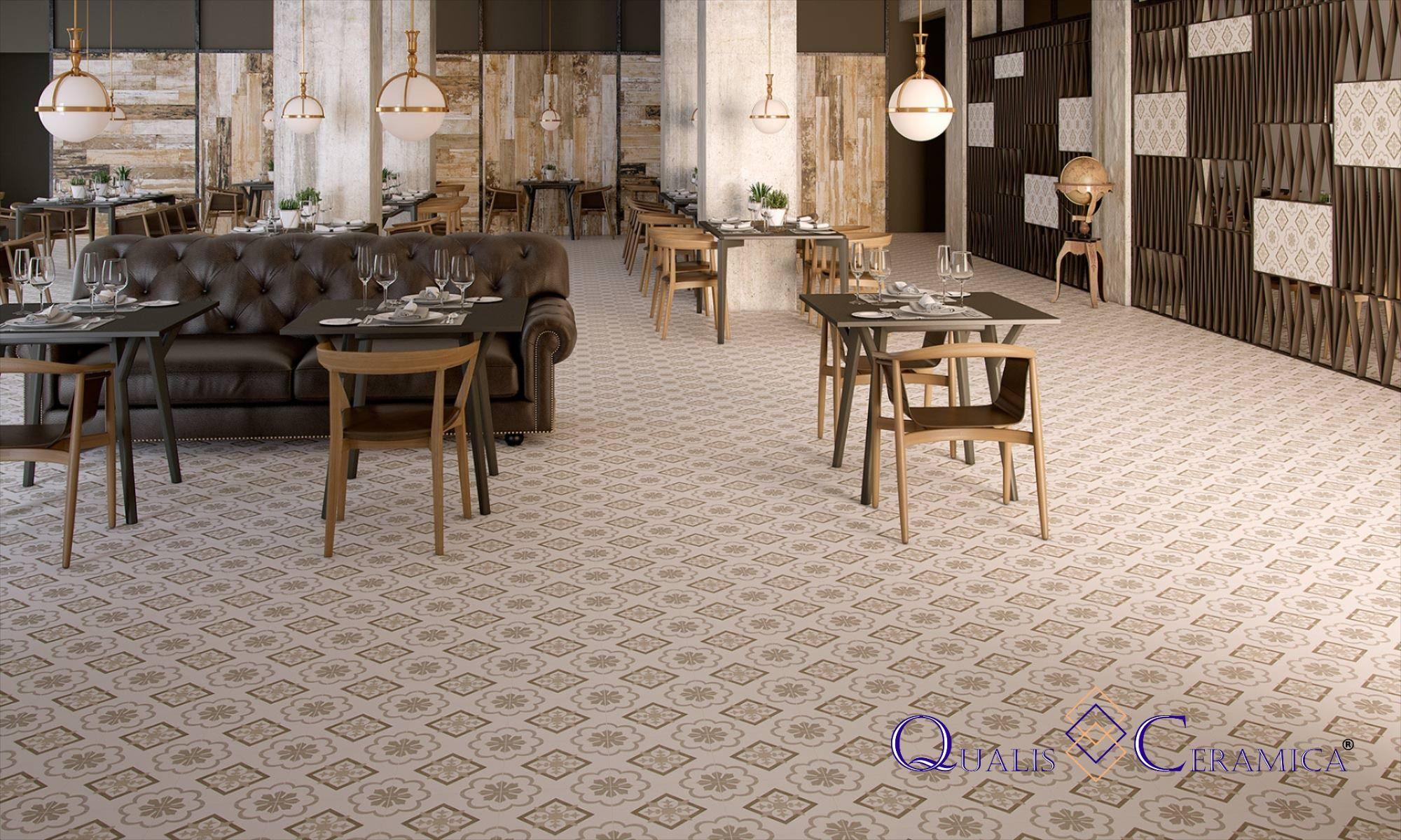 Qualis Ceramica Gibraltar Catalan Beige 10x10 Dining Floor And Wall Cement Look Porcelain Tile Entryway Flooring Tile Design Slip Resistant Tiles
