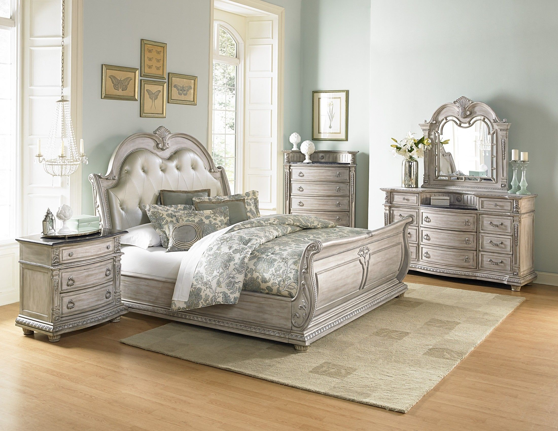 Palace Ii White Wash Bonded Leather Sleigh Bedroom Set Bedroom Sets Queen Sleigh Bedroom Set King Bedroom Sets