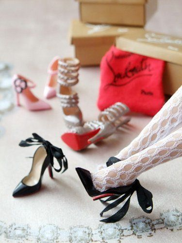 ChristianLouboutin Barbie shoes [I would just make these using red nail polish... :) ]