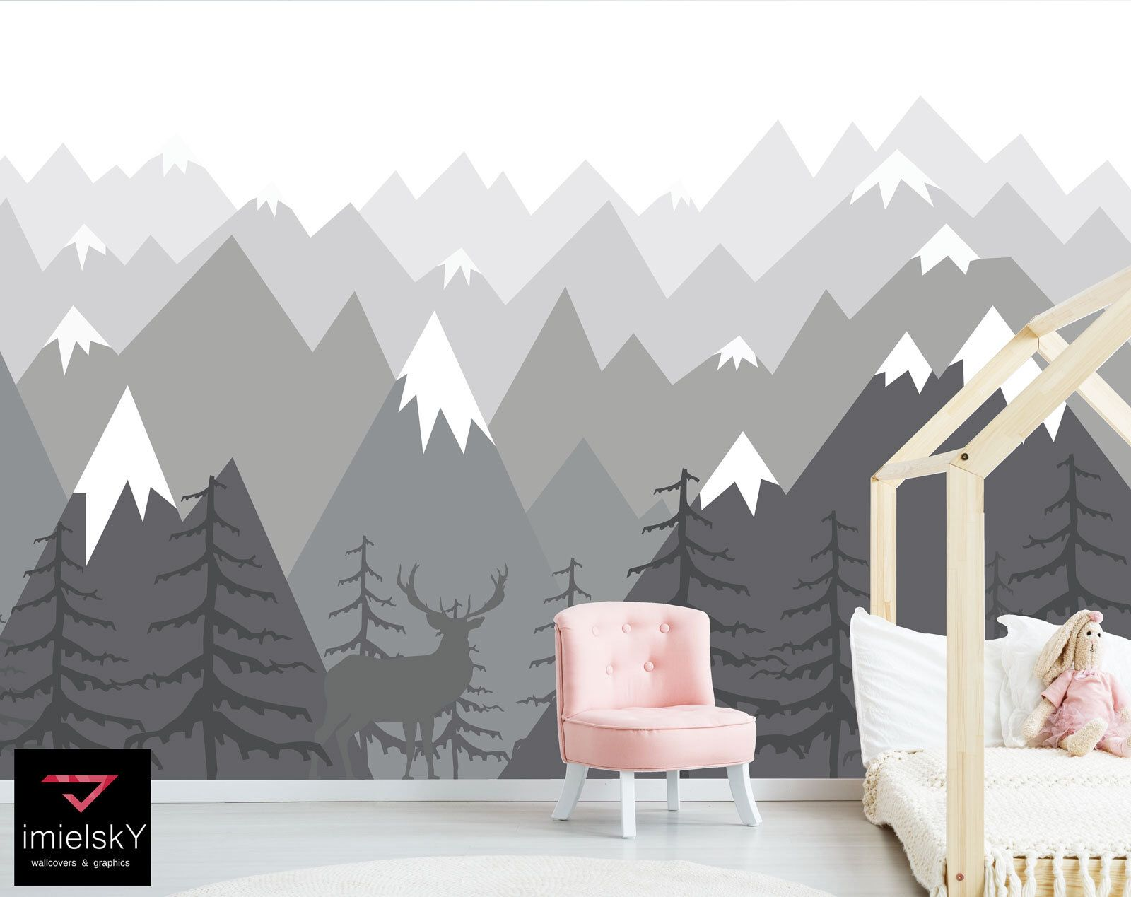 Mountain Wallpaper Wall Decal Woodland Nursery Baby Room Navy Blue Wall Art Repositionable Wall Mural Peel /& Stick Boy Wallpaper Removable