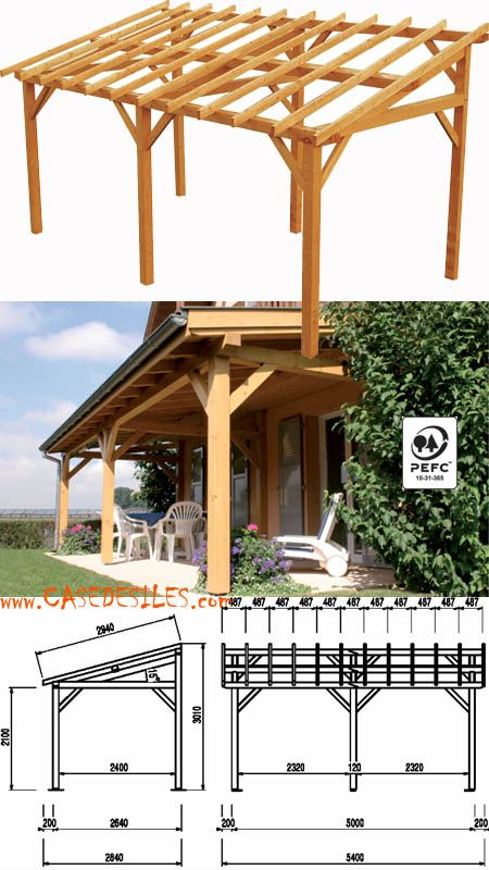 abri terrasse bois à pas cher : avent de terrasse en bois 15.33mc