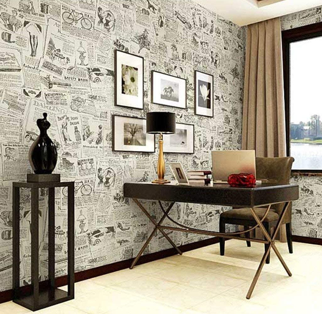 Vintage Newspaper Self Adhesive Paper Peel Stick Wallpaper For Bedroom Livingroom Decor Living Room Decor Dressing Table With Drawers Home Decor