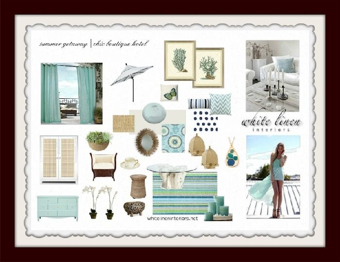 coastal style boutique hotel design board by ana damaris then in miami fl - Coastal Interior Design Ideas