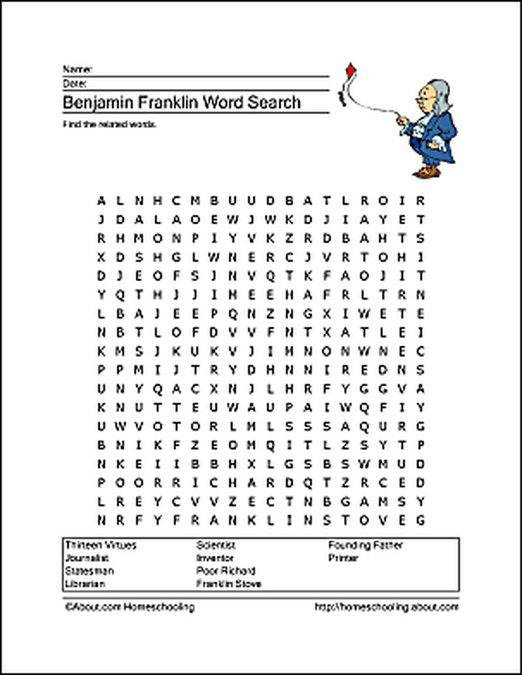 Benjamin Franklin Word Search Crossword Puzzle And More Pinterest