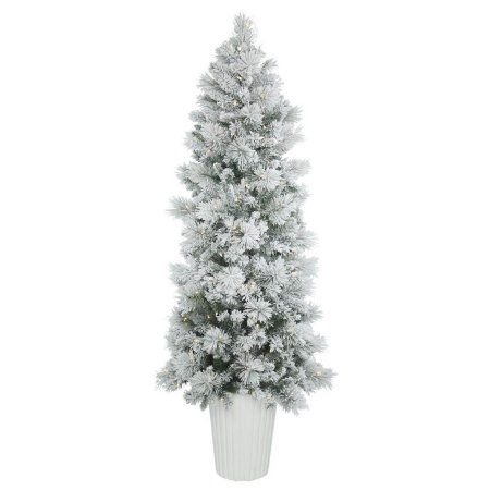 Vickerman 7 Potted Flocked Castle Pine Artificial Christmas Tree With 250 Clear Lights Walmart Com White Artificial Christmas Tree Pine Christmas Tree Flocked Christmas Trees