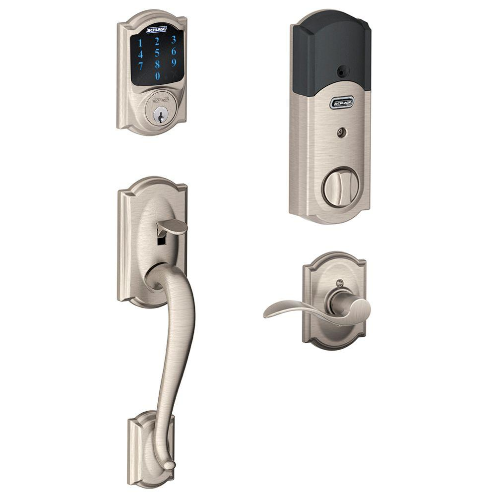 Schlage Connect Satin Nickel Camelot Smart Lock With Alarm And Handleset With Right Handed Accent Lever Smart Door Locks Smart Deadbolt Schlage