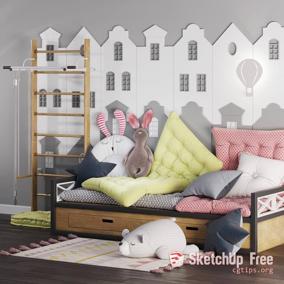 1199 Child Bed Sketchup Model Free Download | Sketchup Free Download