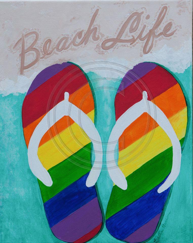 1c50d57a8168b rainbow flip-flops beach life acrylic on canvas prints and giclees ...