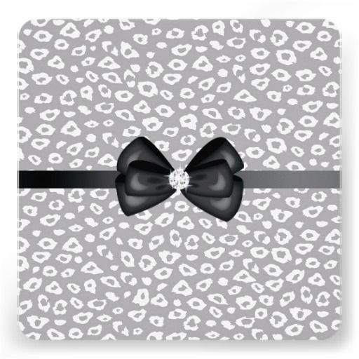Grey and White Leopard Print Bow Sweet Sixteen invites