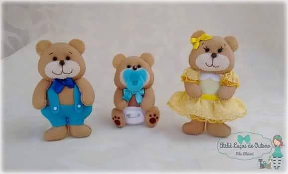 Familia urso coisa + fofura!! - Feltro Fácil - Moldes e Apostilas