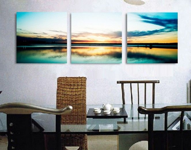 Sunrise sea  a line gift present  3 Piece modern picture  oil painting  wall panel decoration home  art  canvas Prints US $24.99