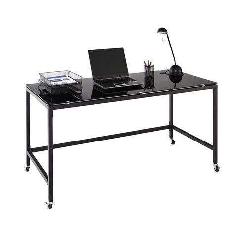 Ryder Mobile Black Glass Desk   Office Works
