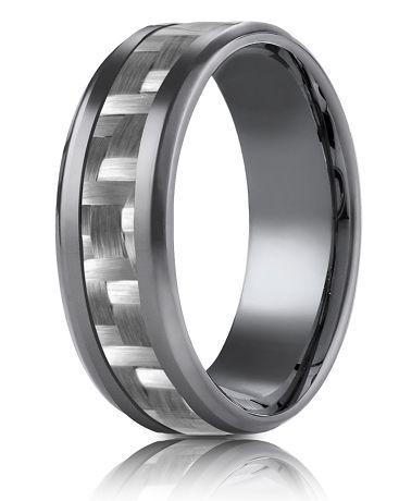 Tantalum 8mm Carbon Fiber Design Ring New Alternative Metal
