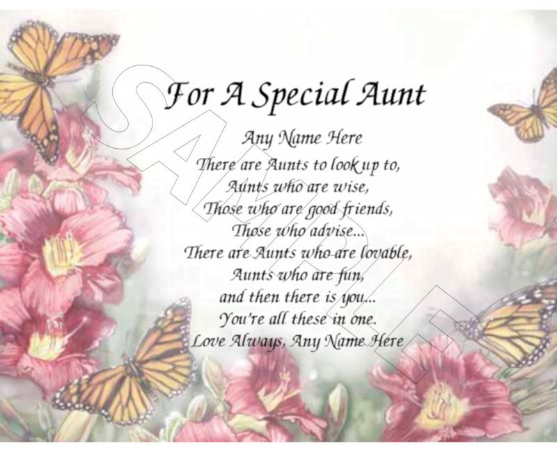 FOR A SPECIAL AUNT PERSONALIZED PRINT POEM MEMORY BIRTHDAY