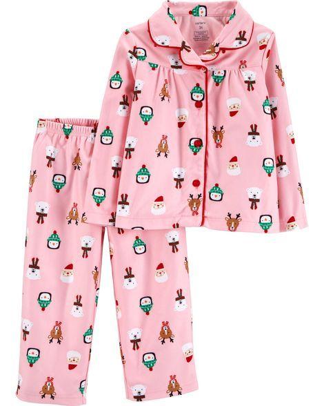 2-Piece Kid Christmas Coat Style Fleece PJs in 2018 Christmas