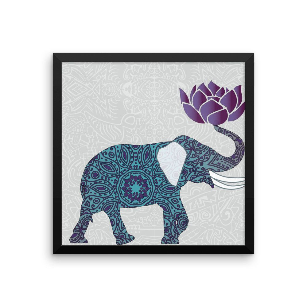 Framed Elephant Print Indian Design With Lotus Flower Purple And
