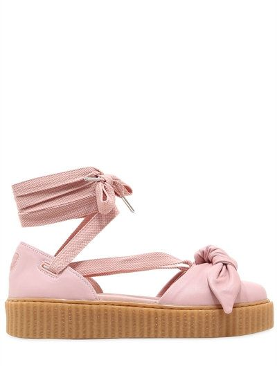 b22dae356b6 FENTY X PUMA - 30MM BOW CREEPER LACE UP SANDAL SNEAKERS - FLATS - PINK -  LUISAVIAROMA - 30mm Rubber platform sole . Wrap around laces . Bow detail