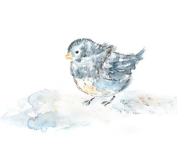 Baby Girl Nursery Art Bird Watercolor Print Nursery Print