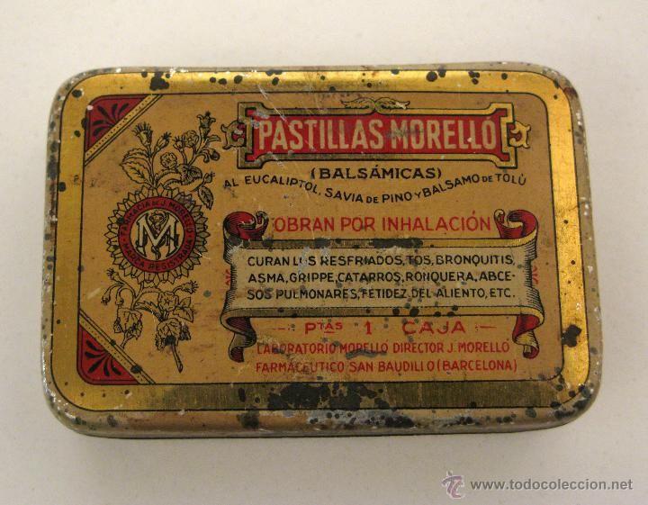 Antigua lata de Pastillas MORELLÓ. Medicina. Medicamento.