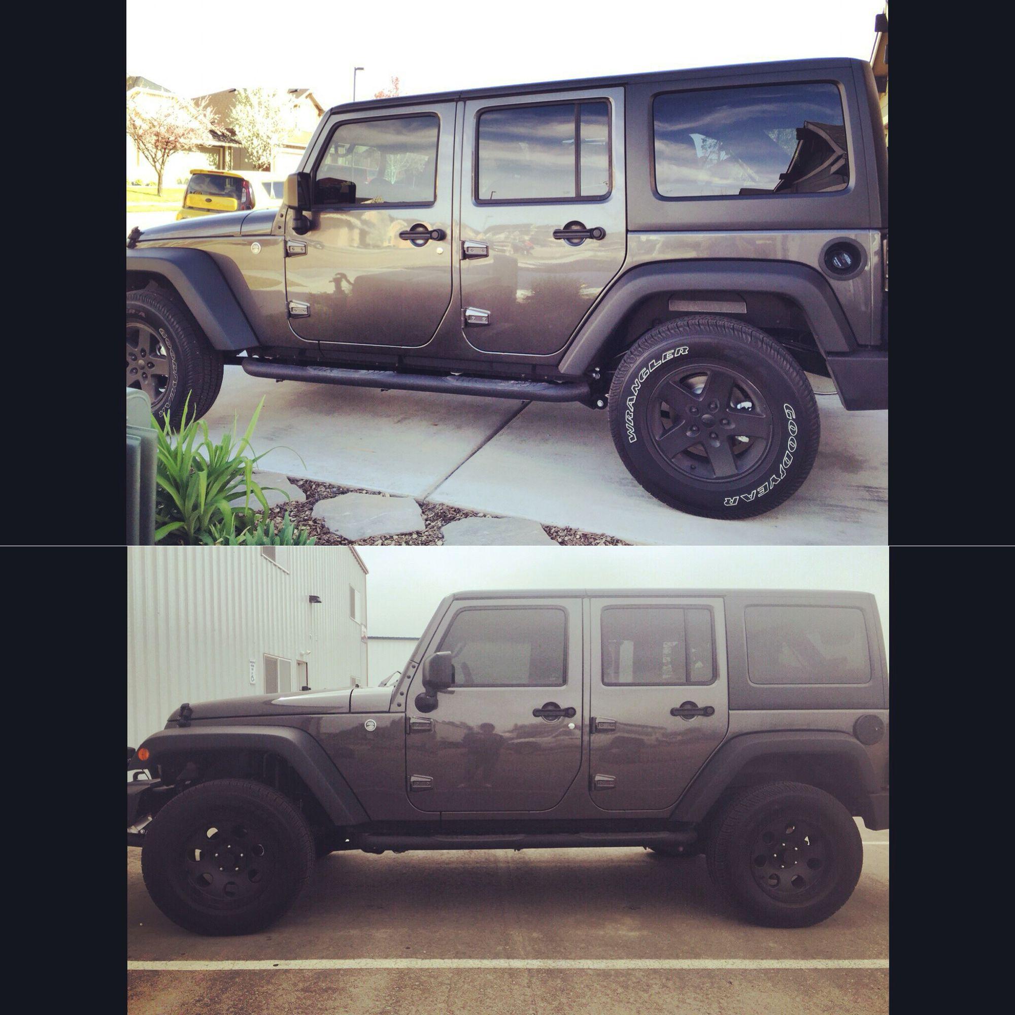before and after 2 lift 35 tires on 2016 jeep wrangler jeeps pinterest jeeps. Black Bedroom Furniture Sets. Home Design Ideas
