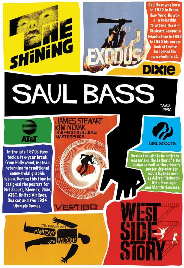 Saul Bass - I like how he was able to visually communicate design in a simplified and symbolic way.