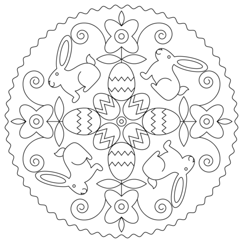 Easter mandala with bunny and eggs coloring page from easter mandalas category select from 24659