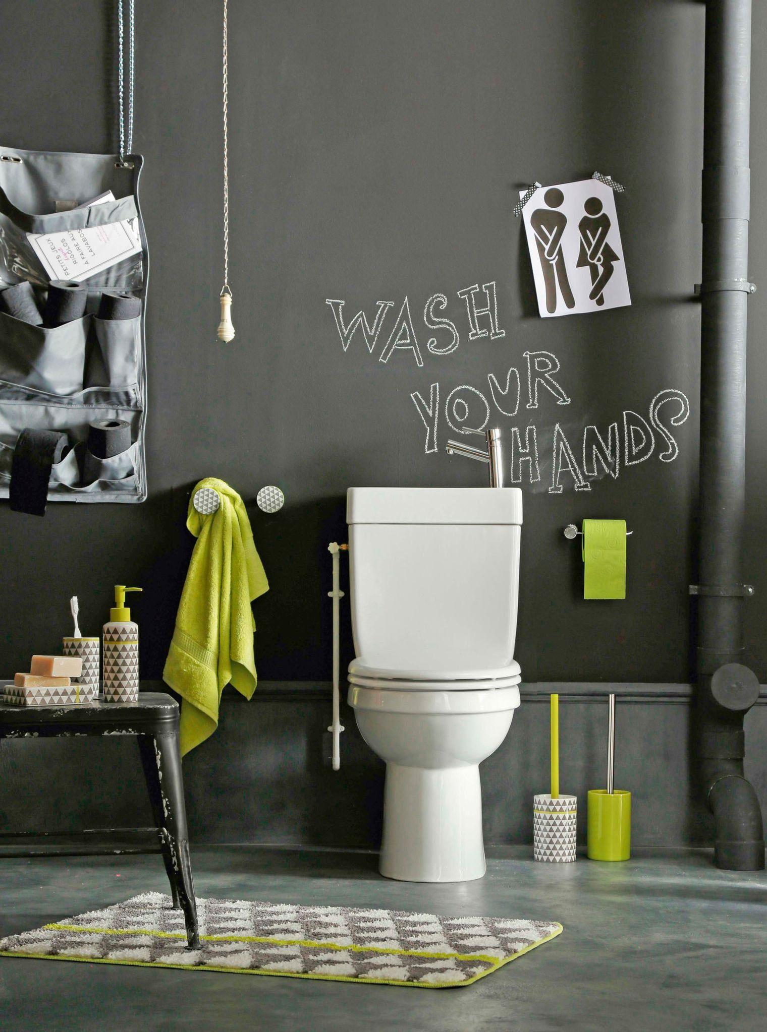 J'aime cette photo sur Deco.fr ! Et vous ?   Deco wc moderne, Deco wc et Peinture toilettes