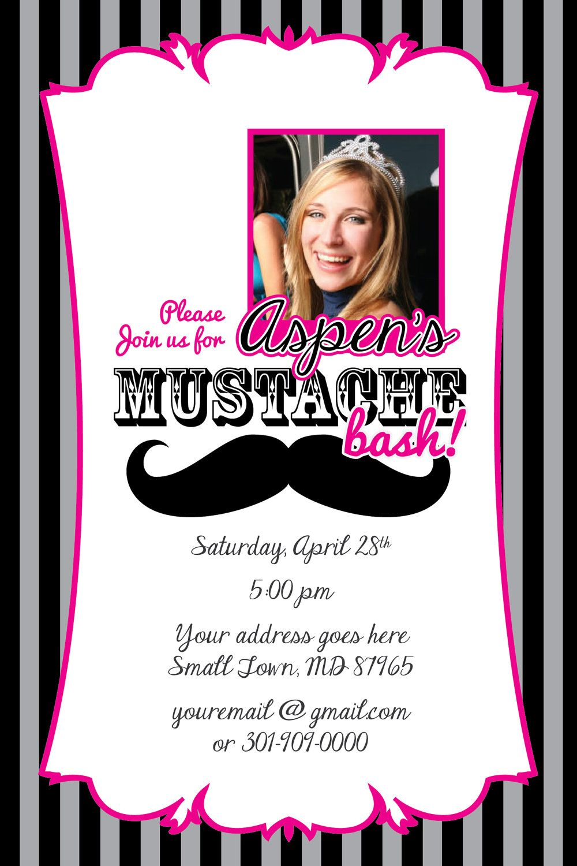 MUSTACHE Printable Birthday Party Invitation File 4x6 jpeg file ...