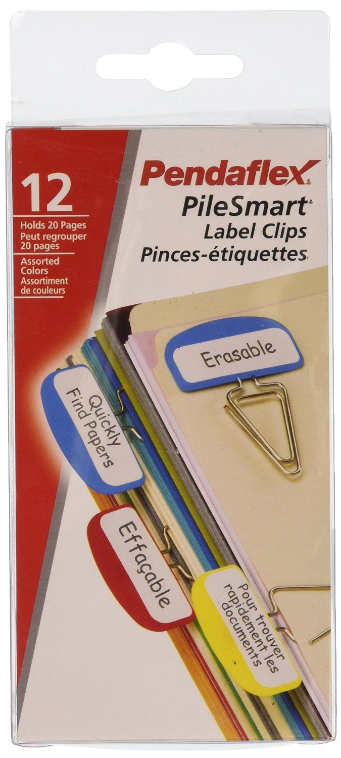 Amazon.com: Pendaflex Pilesmart Label Clips with Write On Tabs, Primary Assorted Colors, 12 per Pack (18651): Office Products