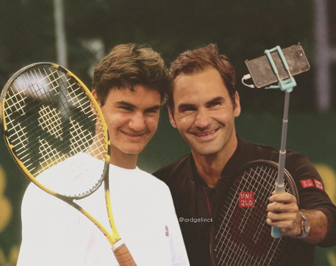 This Artist Photoshops Celebs Next To Their Younger Selves Thus Defying Time As We Know It Tennis Roger Federer Tennis News