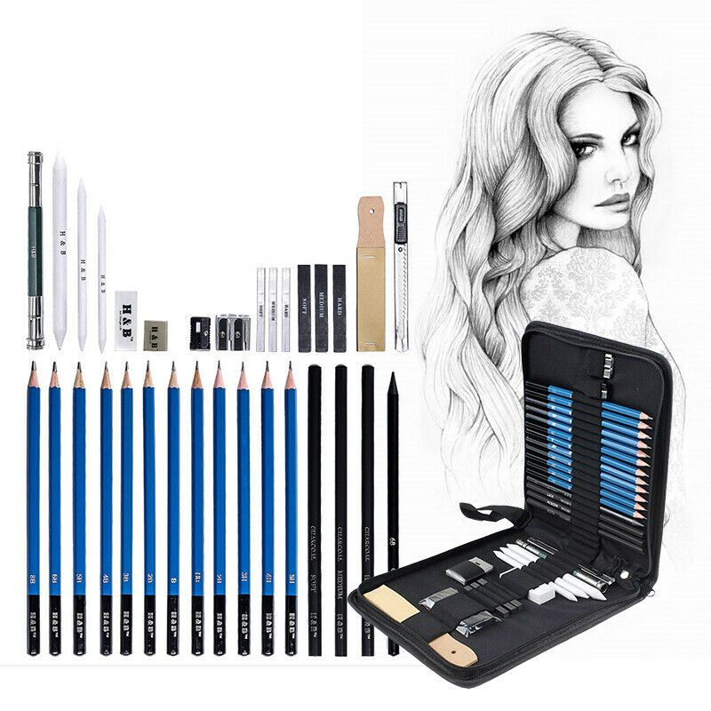 Pro Sketching Artists Drawing Pencil Kit Student Graphite Charcoal Stick Set