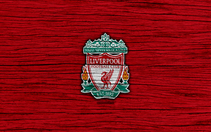 Download wallpapers Liverpool, 4k, Premier League, logo, England, wooden texture, FC Liverpool, soccer, football, Liverpool FC
