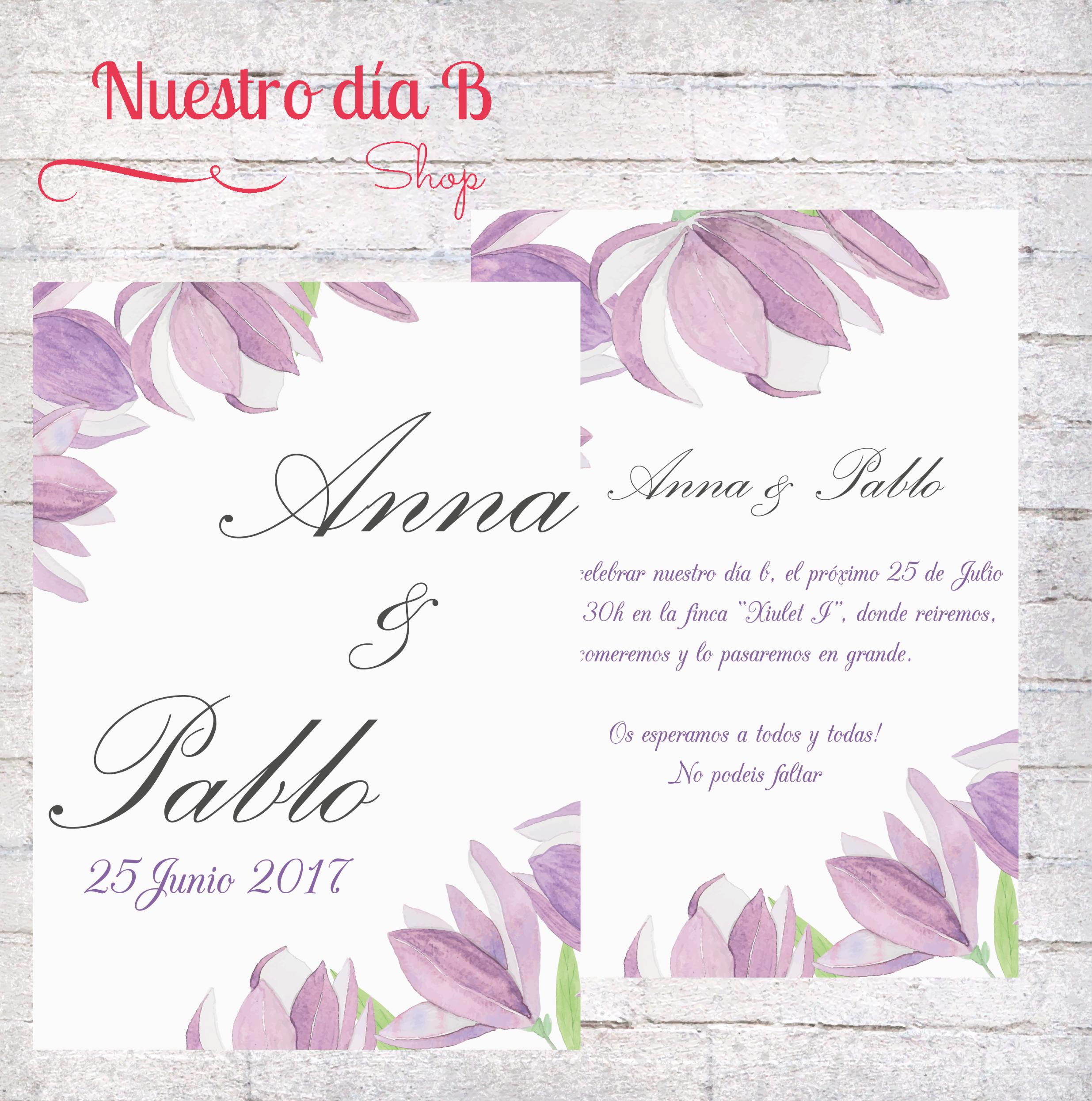 Invitacion Flores Moradas Invita A Tus Amigos Familiares