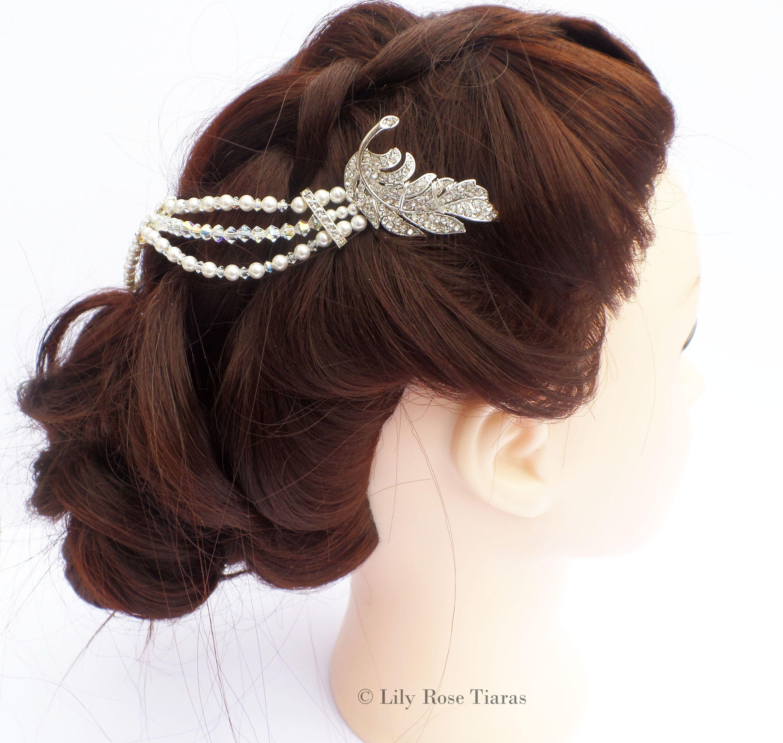 bridal hair drape, swarovski crystal, bridal hair jewellery