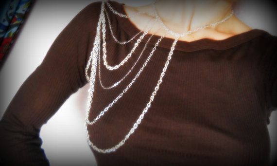 Silver Shoulder Necklace by LoneCrow on Etsy, $40.00