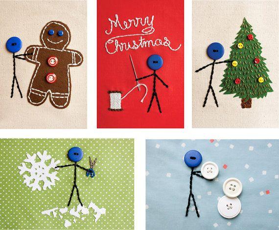 5er Mr. Buttonman Weihnachten Postkarten-Set