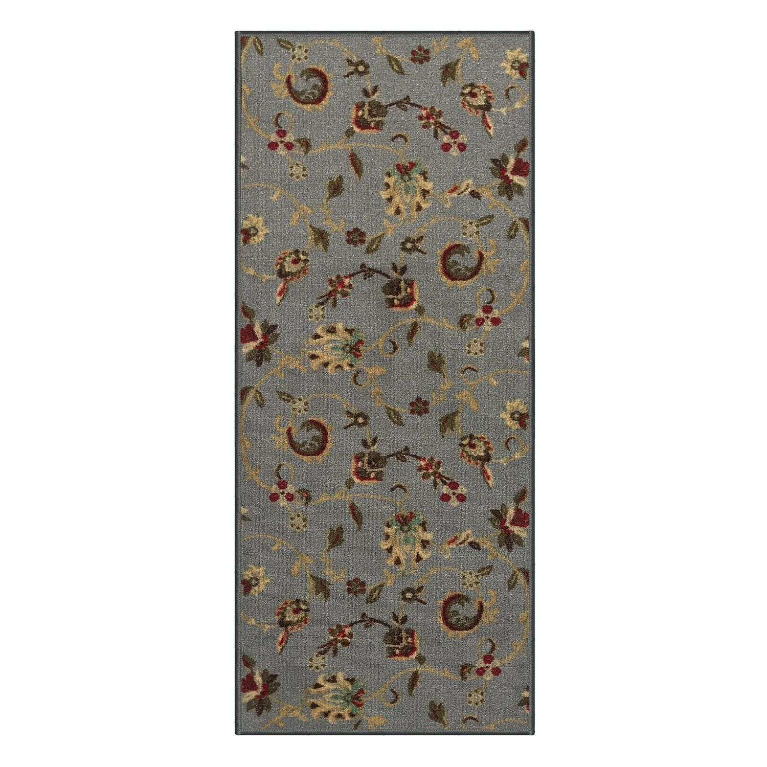 Best Custom Size Grey Floral Rubber Backed Non Slip Hallway Stair Runner Rug Carpet 31 Inch Wide 640 x 480