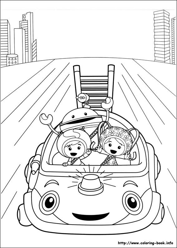 it seems that the umi car is helping milli geo and bot in another adventure come have fun with this amazing team umizoomi coloring sheet
