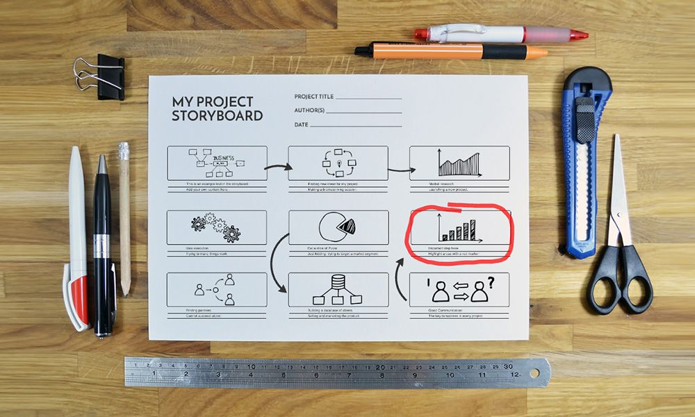 Superb Project Storyboard Sketch On Paper Prezi Template For Presentations