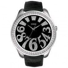 ساعة جلد سوداء نسائي Guess Women Watches Womens Watches Rhinestone Watches