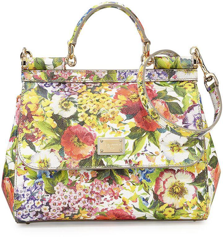 876fa76afcf7 Dolce   Gabbana Miss Sicily Floral-Print Satchel Bag