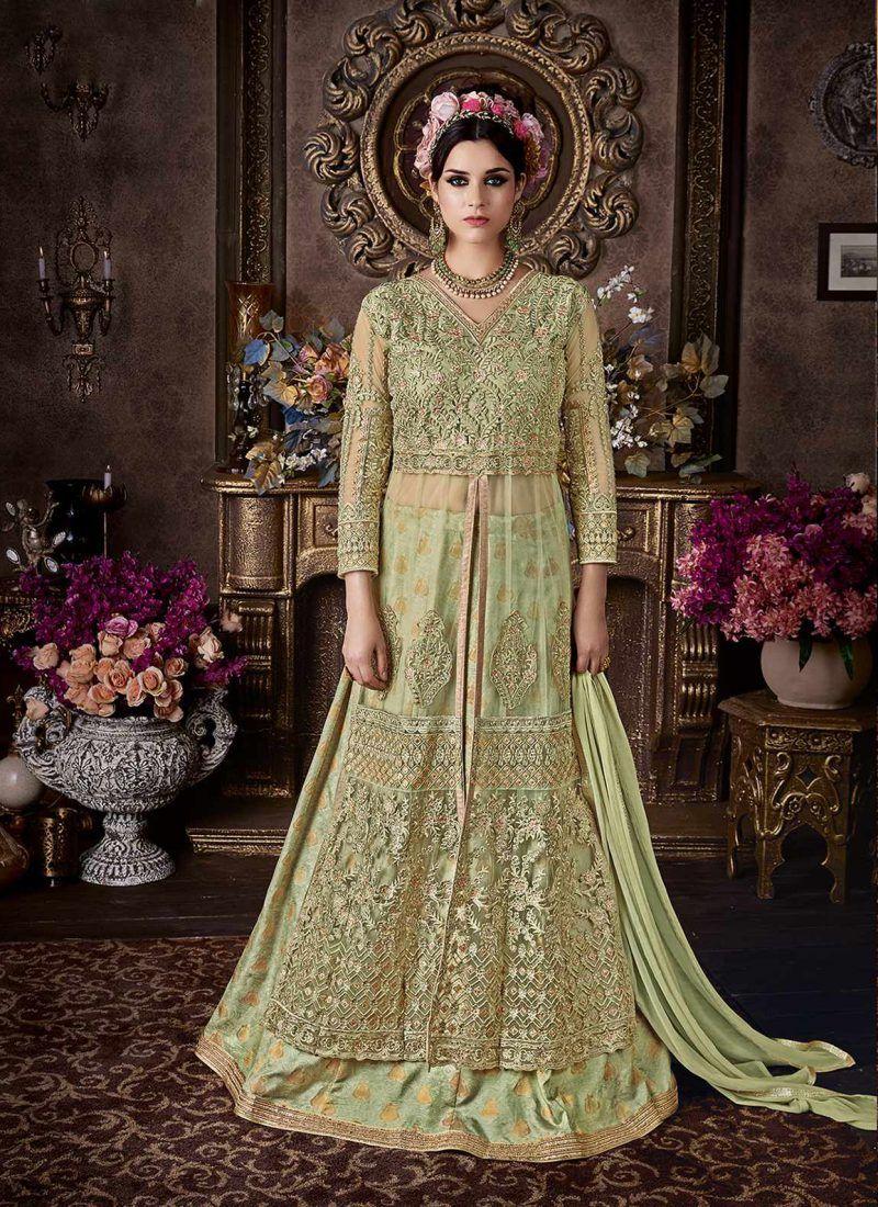 Elegant designer mint green floor touch suit salwar suits