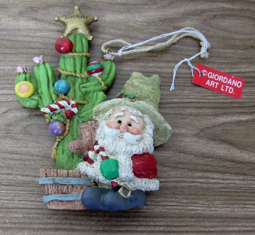 santa with decorated cactus christmas ornament kurt adler hi ho santa giordano kurtadler