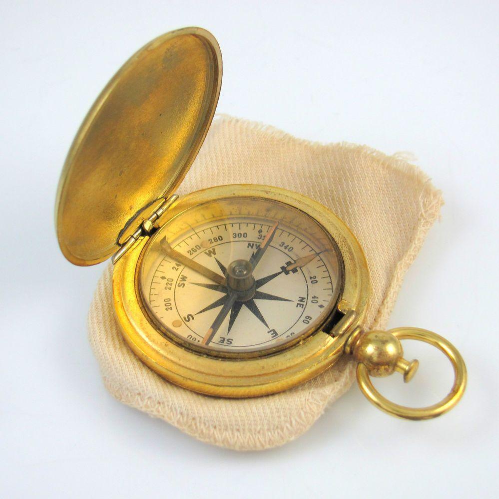 Vintage Wwi Wwii Us Pocket Type Brass Compass Rs Pocket Vintage Brass