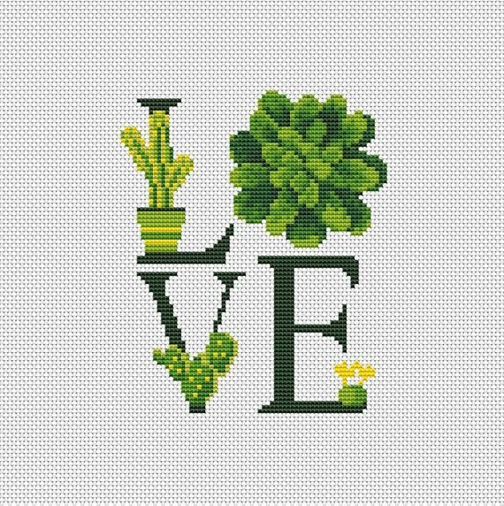 Succulent Cactus Cross Stitch Modern Pattern Love Flower Plants Cross Stitch Easy Cactus Cross Stitch Pattern PDF Instant Download