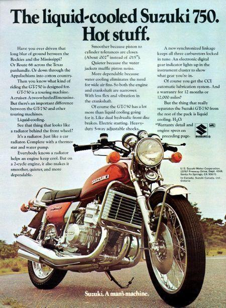 1974 Suzuki Gt750 Ad Suzuki Motorcycle Suzuki Bikes Vintage Motorcycle Posters