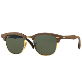 a1bcac966c Ray Ban Clubmaster Wood RB3016M sunglasses – Brown  Black Frame   Green  Classic G-15 Lens