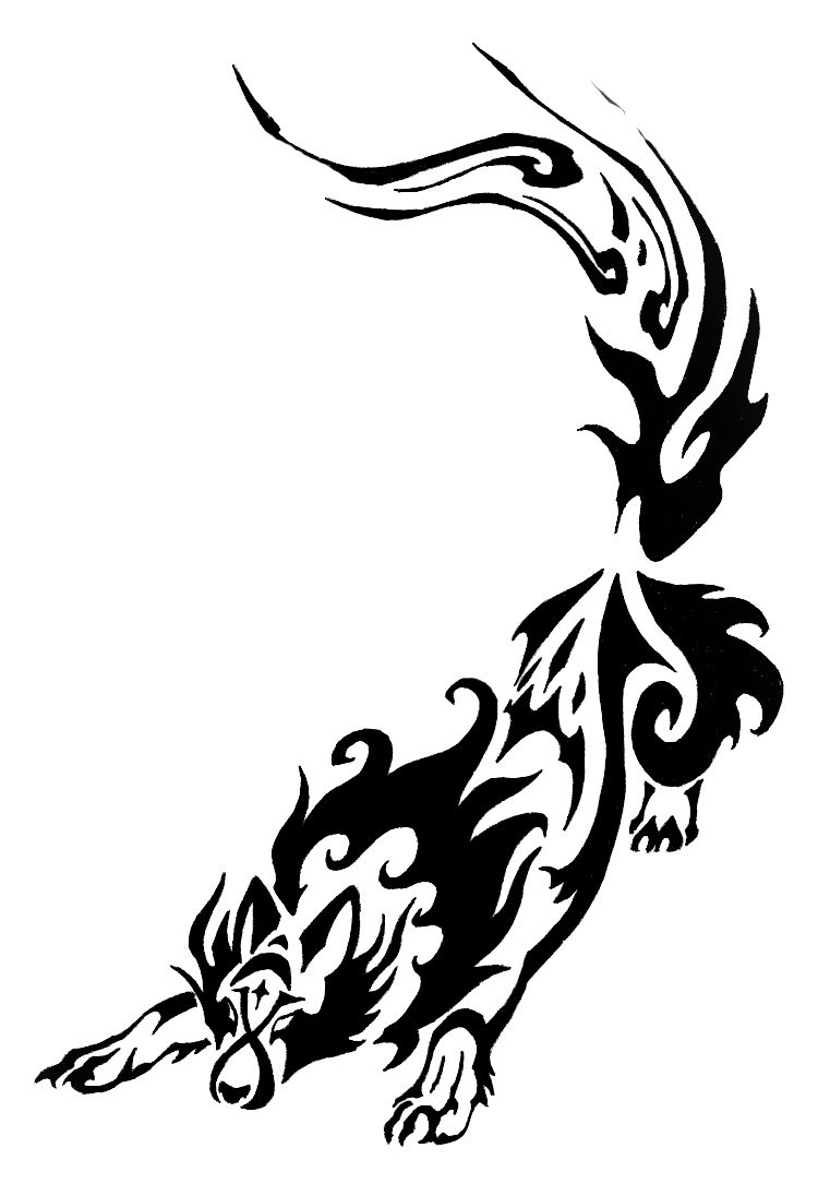 feminine wolf tattoos night wolf tribal commission by